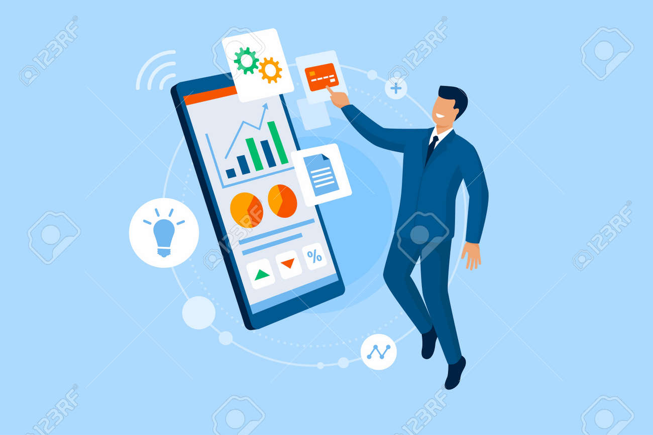 Happy businessman connnecting online and using financial apps on his smartphone - 164080741