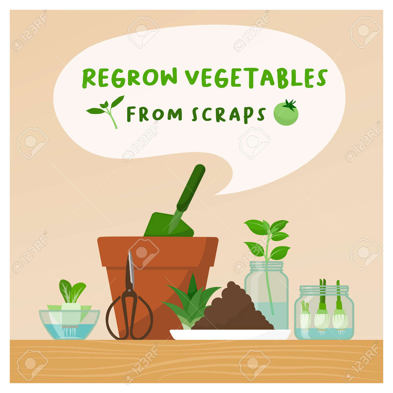 Regrow vegetables from scraps at home: zero waste, DIY gardening and healthy food concept - 164341199
