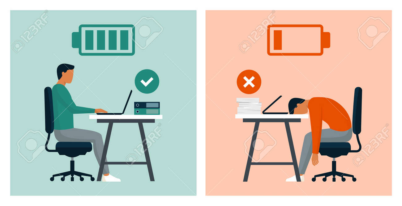 Work efficiency and professional burnout: productive businessman in the office vs exhausted worker comparison - 163262497