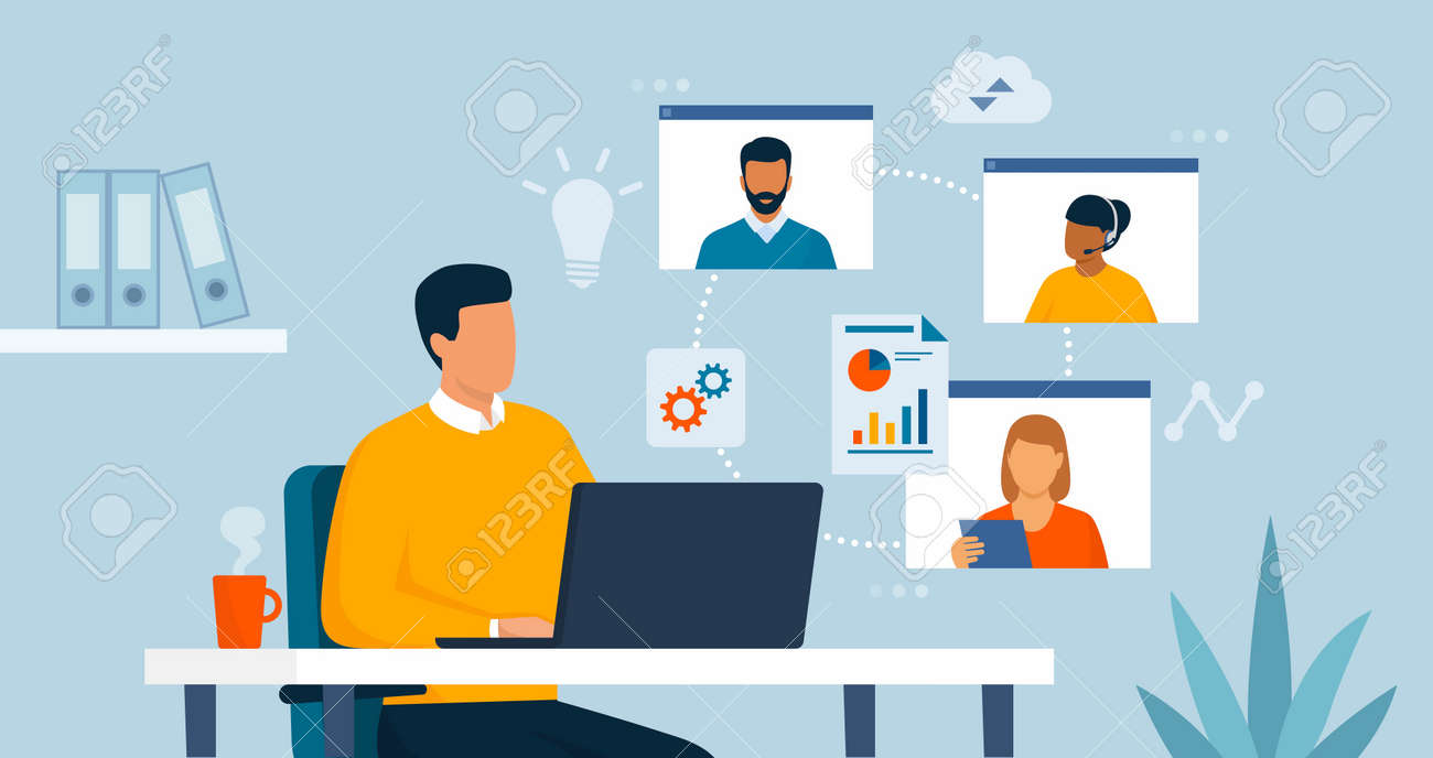 Businessman working in his office and connecting online with his virtual team, he is having a conference call - 164273757