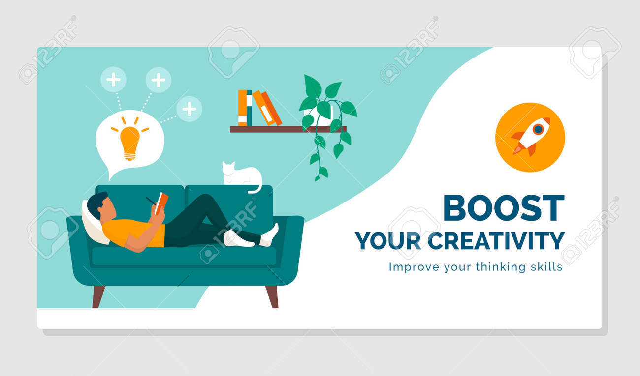 Boost your creativity and improve your thinking skills: healthy lifestyle and focus concept - 164339479