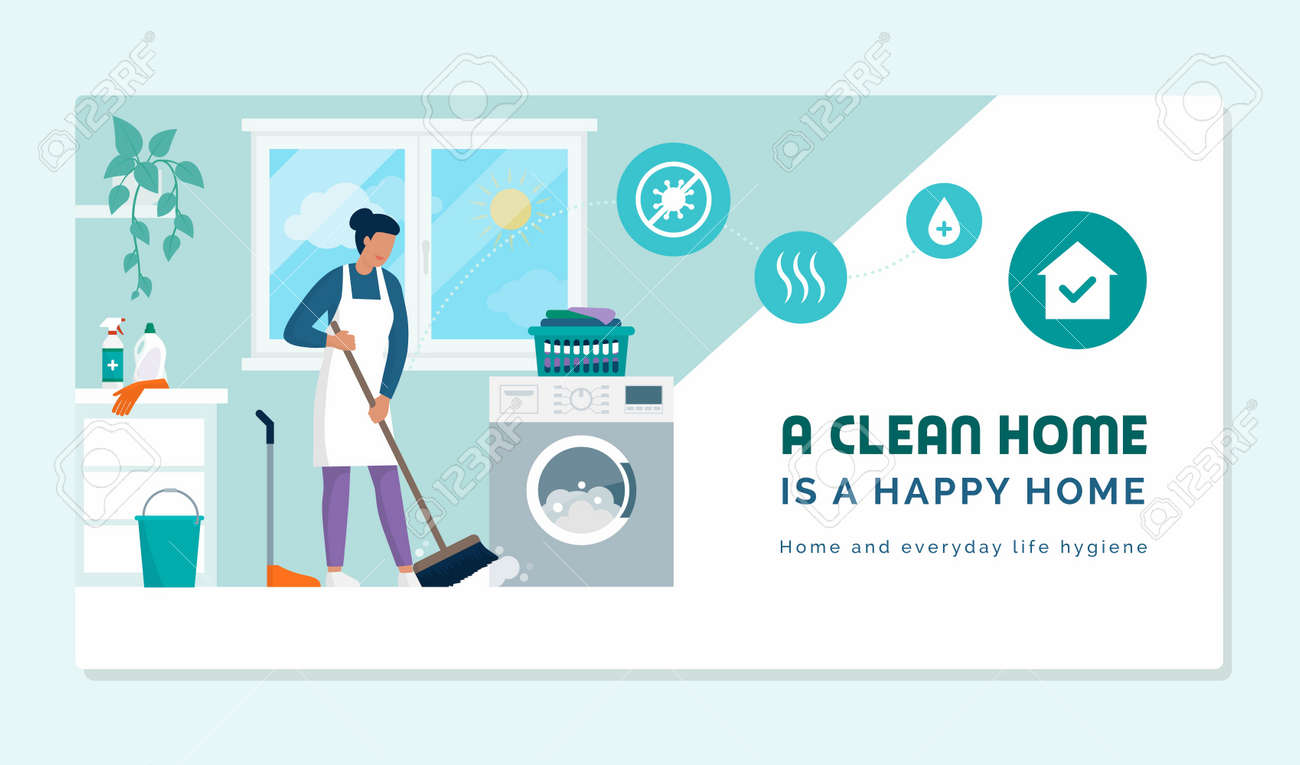A clean home is a happy home: chores and home cleaning concept - 164273562