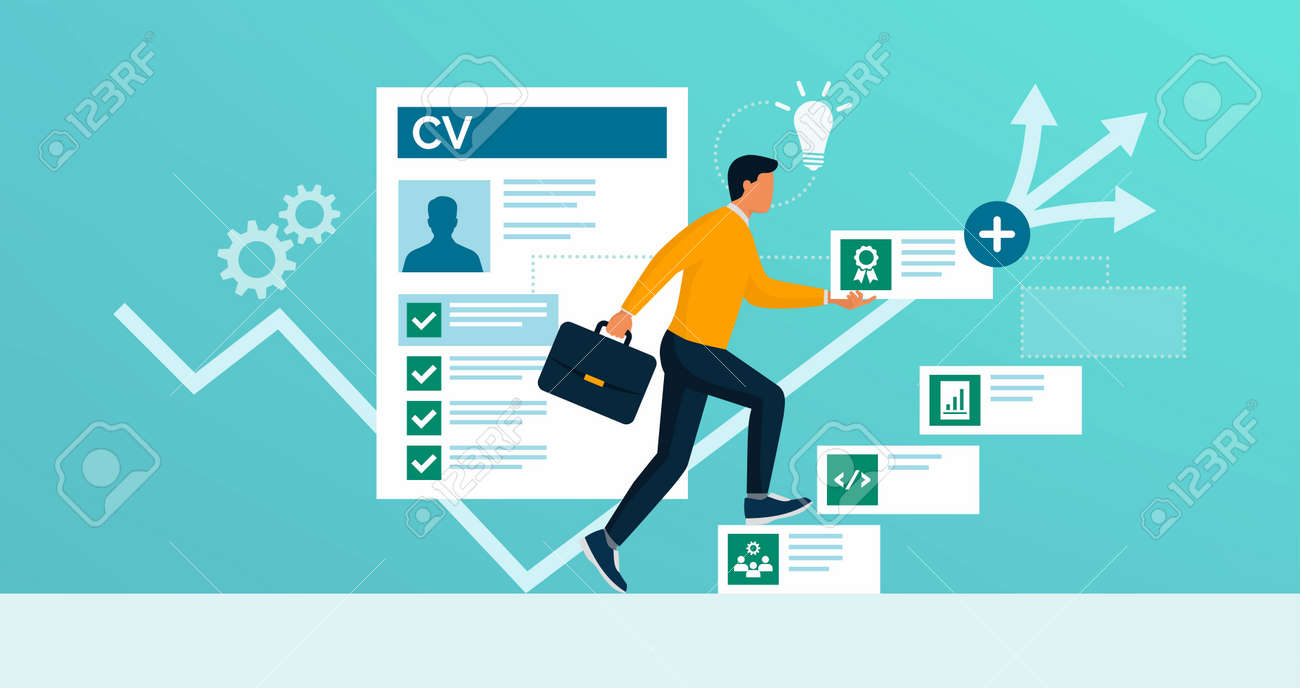 Man adding skills to his CV and increasing his employment opportunities, reskilling and upskilling concept - 164339492