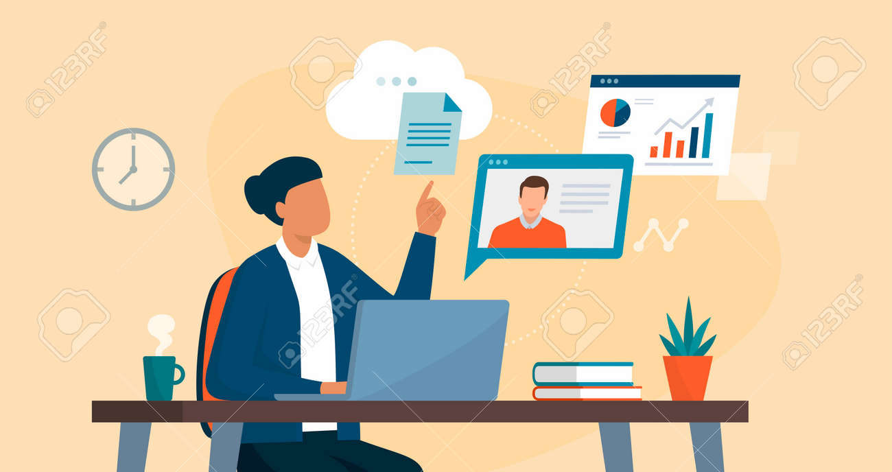 Professional business woman sitting at desk and connecting with her laptop, she is video calling her colleague and sharing files online on the cloud - 164273681