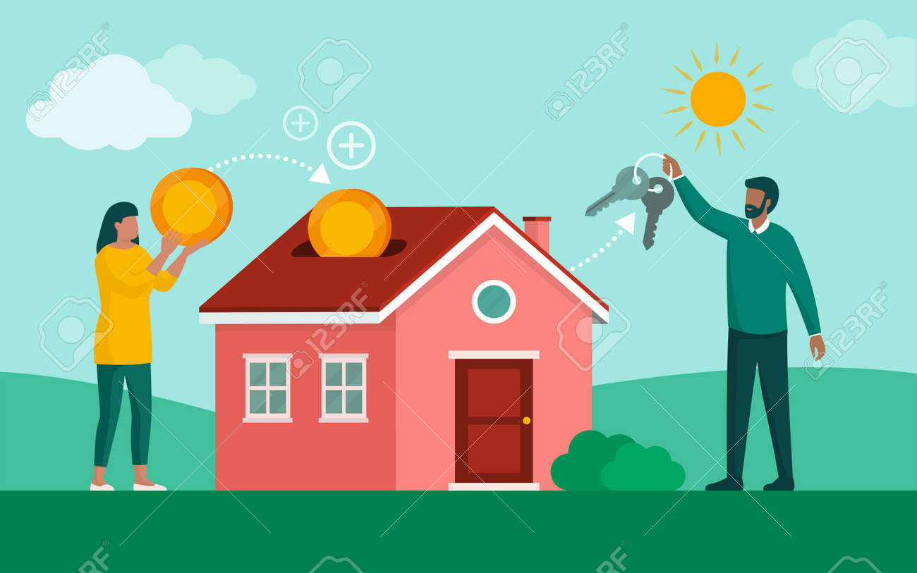 Young couple buying a house and investing in real estate, home loan and mortgage concept - 169454572