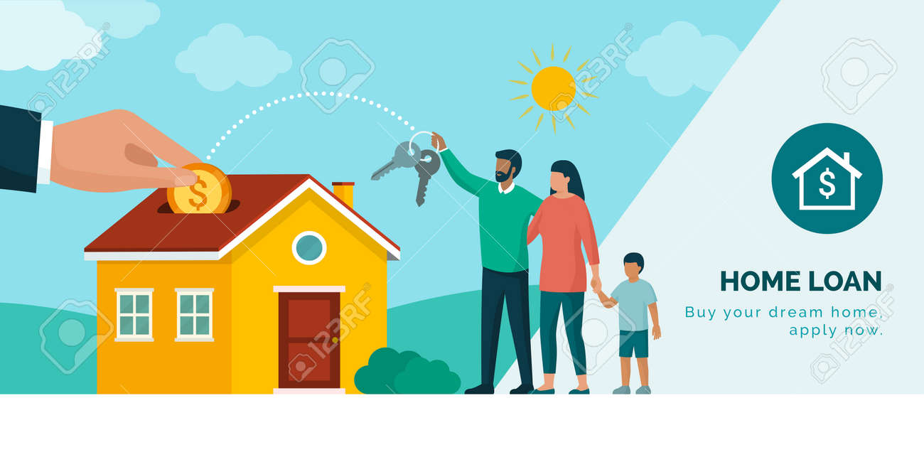 Happy family buying their new home, home loan and mortgage concept - 169454575