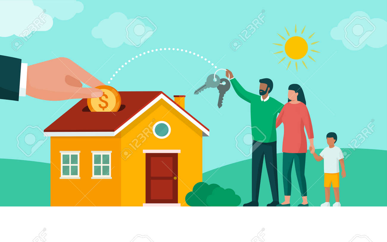 Happy family buying their new home, home loan and mortgage concept - 169454576