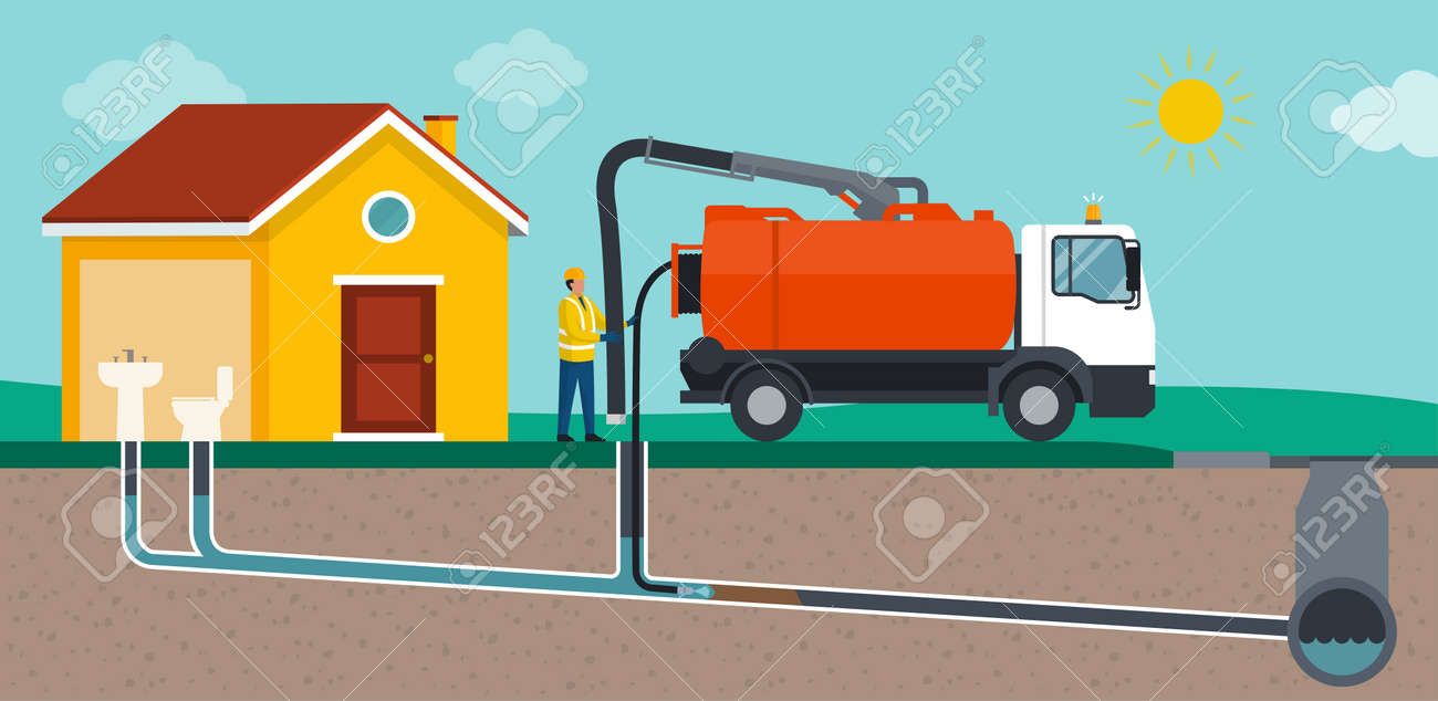 Professional sewer cleaning service: worker cleaning a sewer line and removing obstructions - 169454577