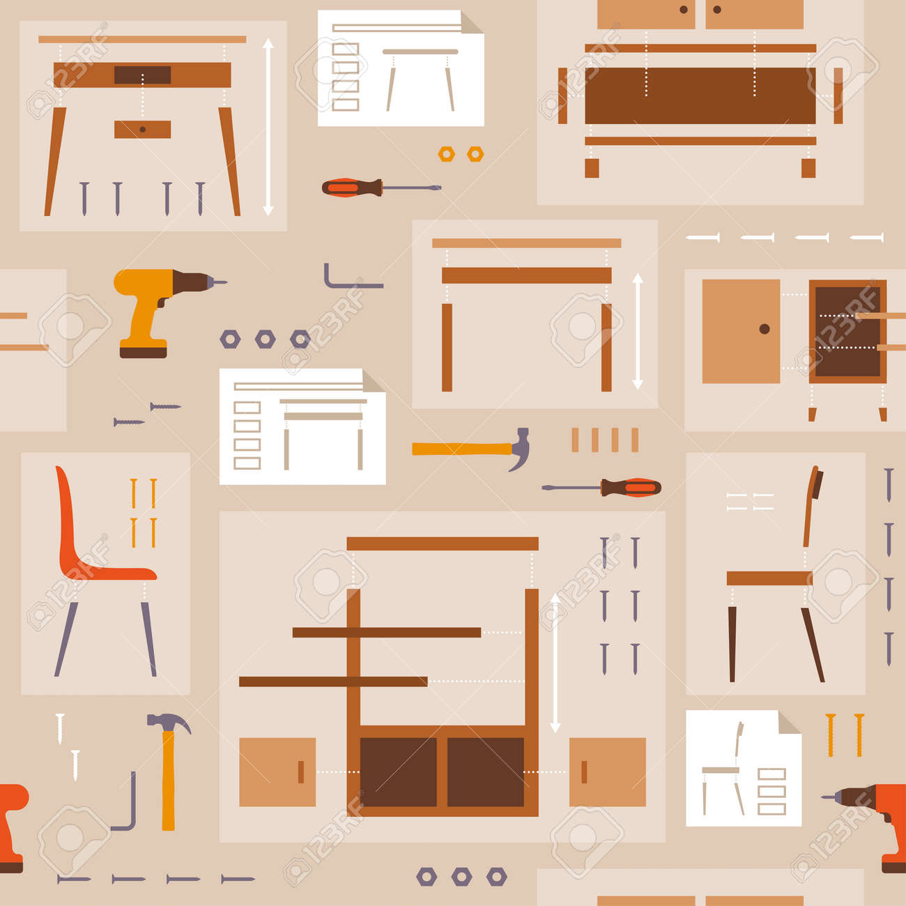 Furniture assembly and DIY pattern with tools - 169454612