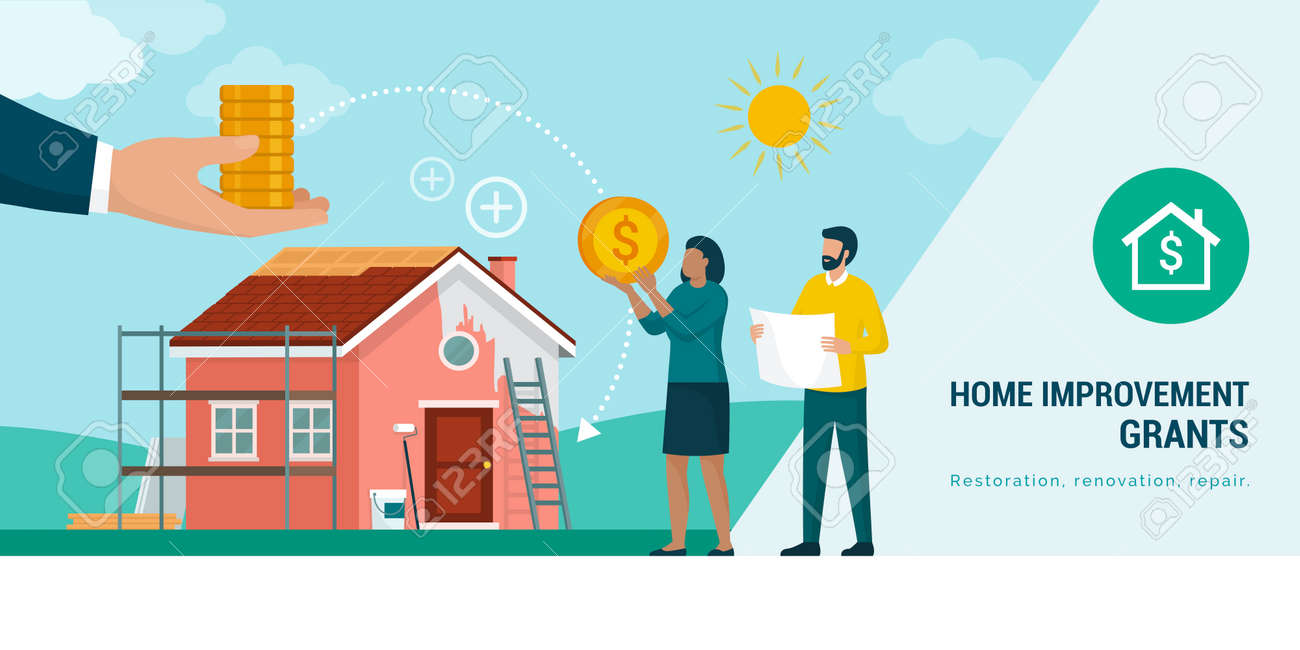 Couple receiving a home improvement grant or loan and doing a home renovation - 170336102