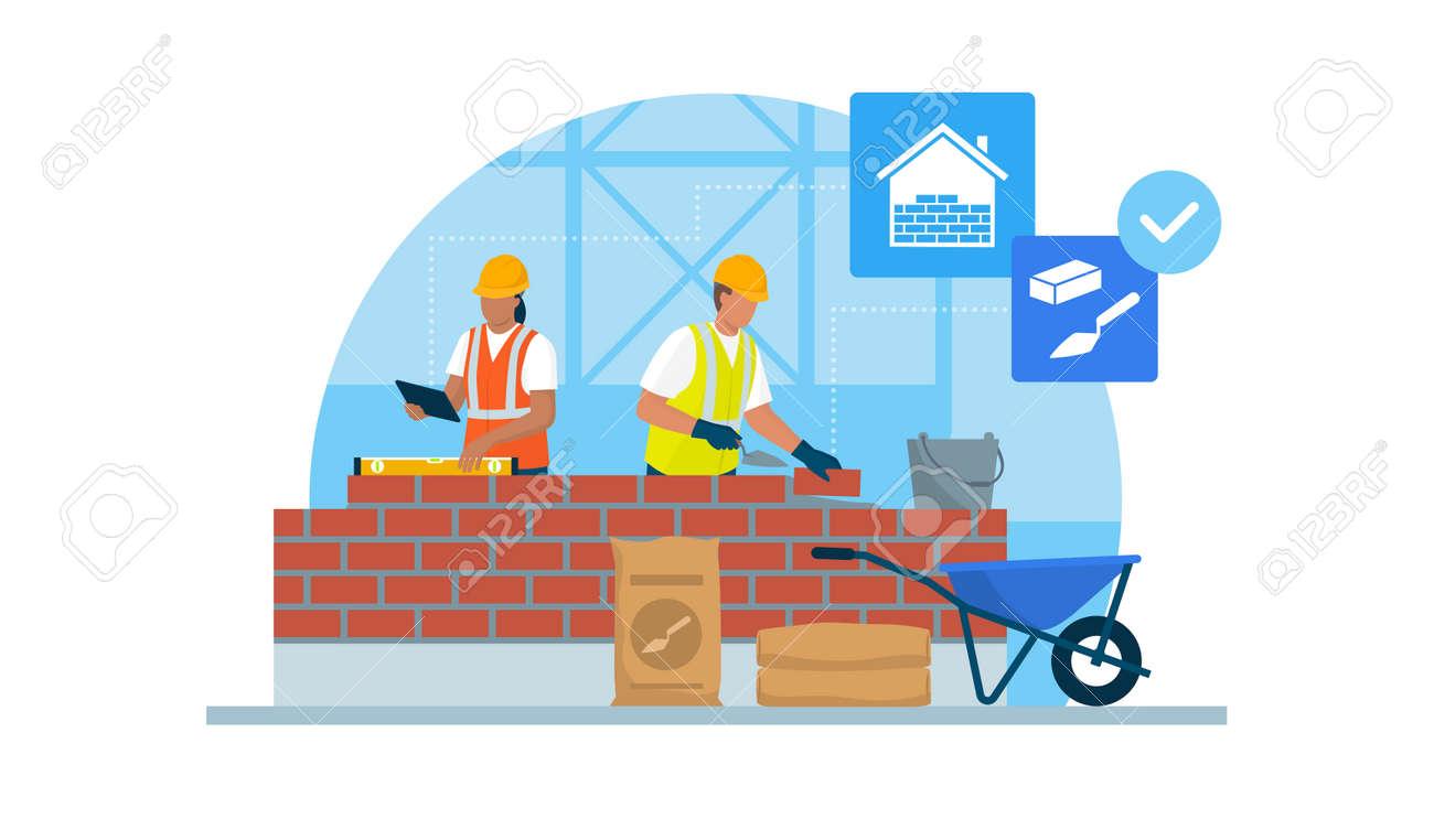 Professional builders laying bricks and checking brickwork - 170967440