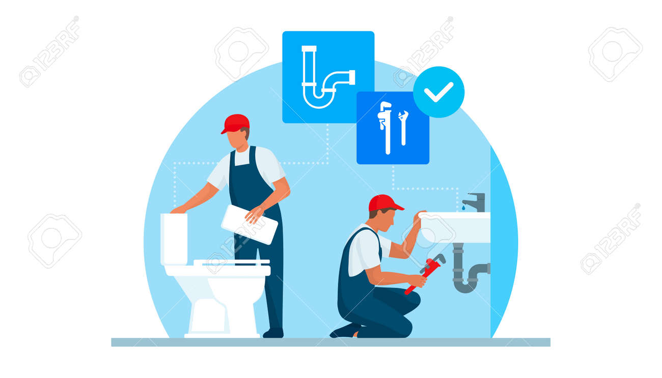 Professional plumbers service, they are unclogging a toilet and fixing the plumbing in a sink - 170967443
