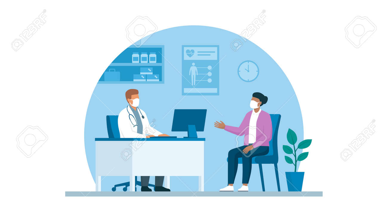 Doctor and patient meeting in the office, they are wearing face masks and talking virus prevention concept - 170967445