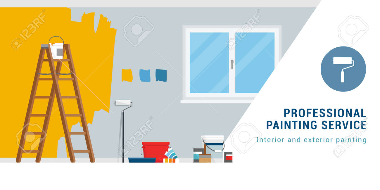 Professional painting service banner with work tools and copy space - 170967446