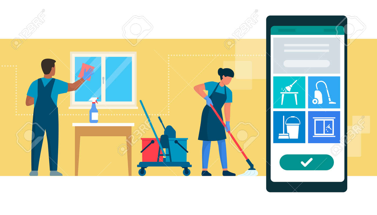 Book cleaning service online: professional cleaners working and mobile app with services - 170967448