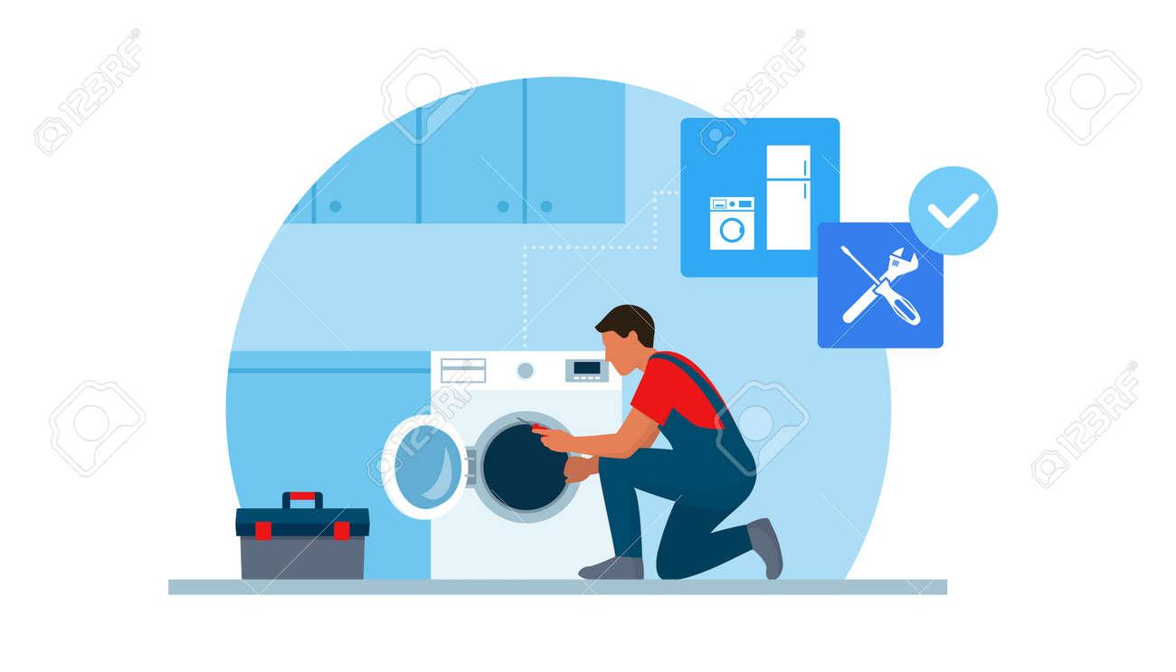 Professional repairman fixing a washing machine at home - 170967450