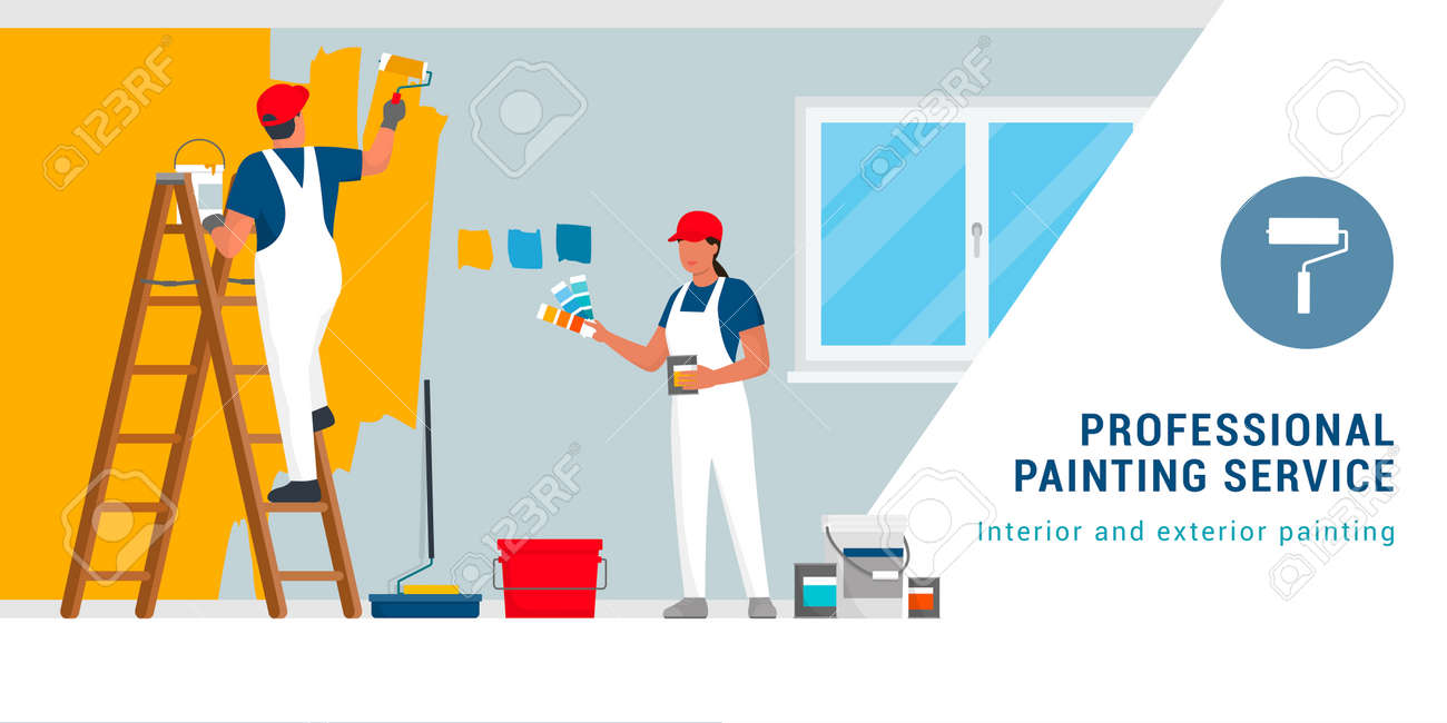 Professional painters and decorators painting walls in a residential room with professional equipment - 170806867