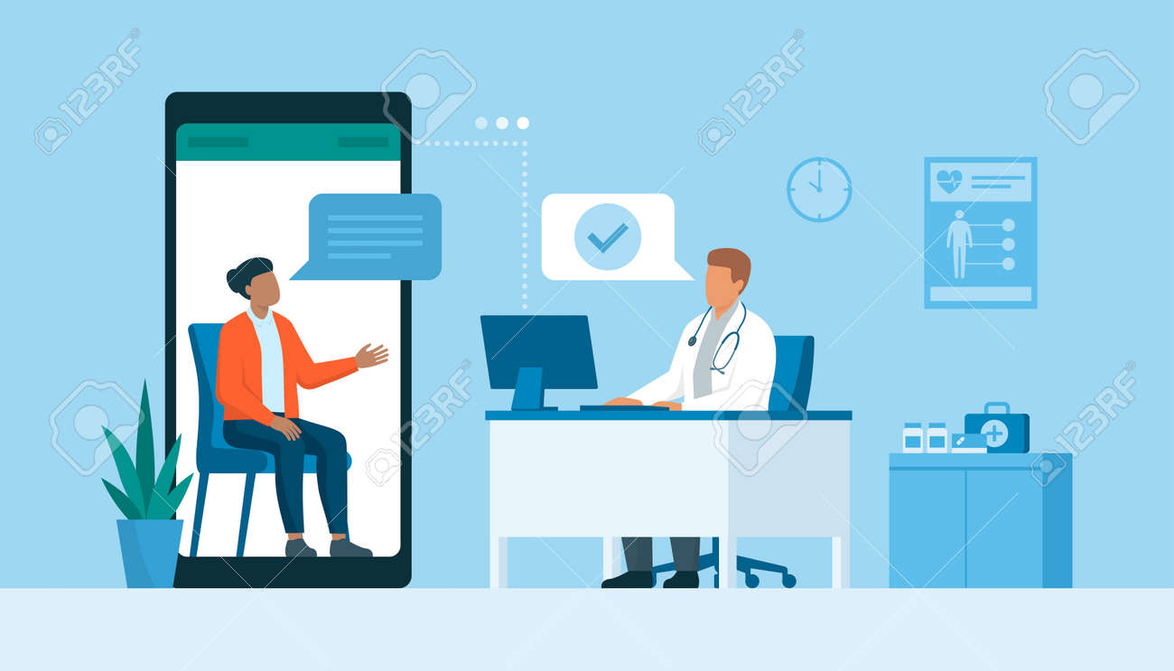 Woman video calling her online doctor, telemedicine and telehealth concept - 170967453