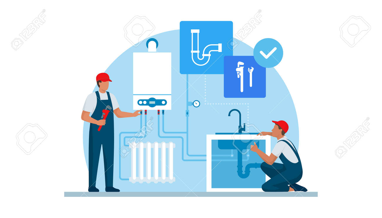 Professional plumber and heating engineer at work, they are checking the boiler and home plumbing - 170967455