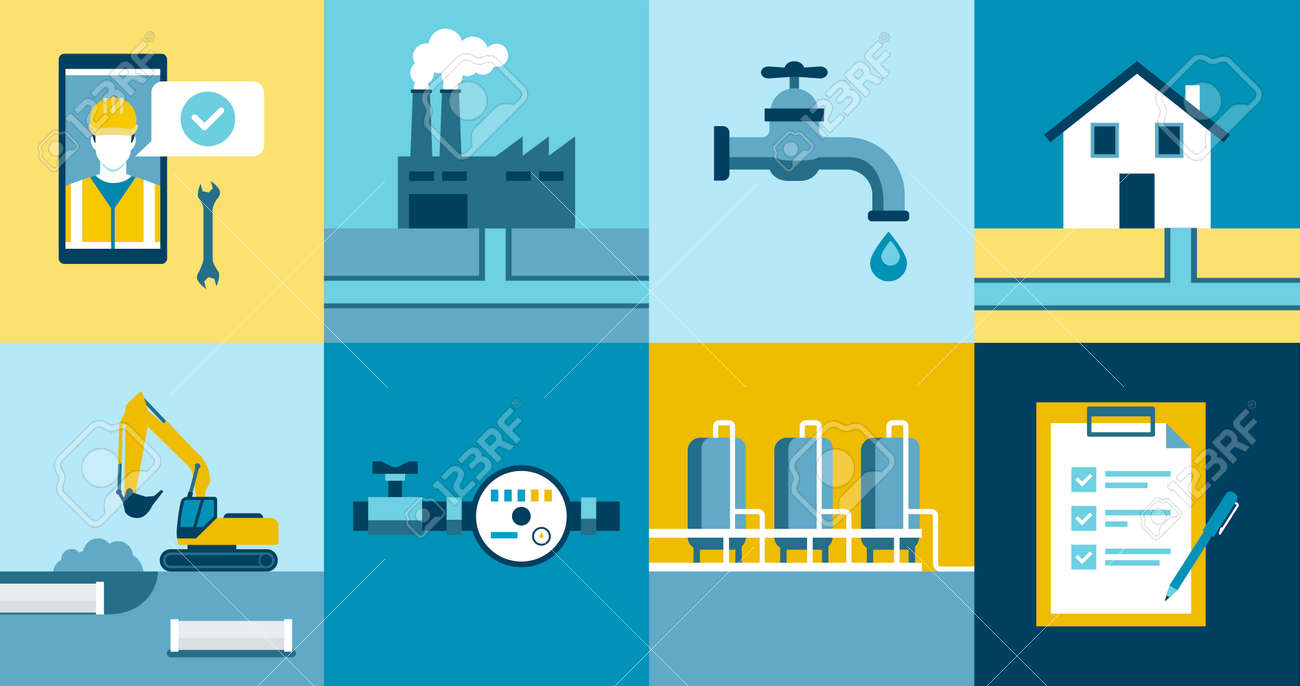 Water supply and sanitation services icons set: water treatment, distribution and collection service provider - 171583135