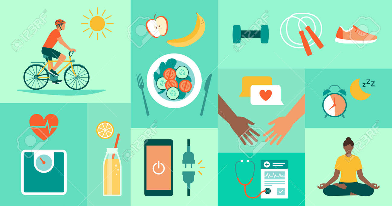 Healthy lifestyle, disease prevention and fitness icons - 172224704