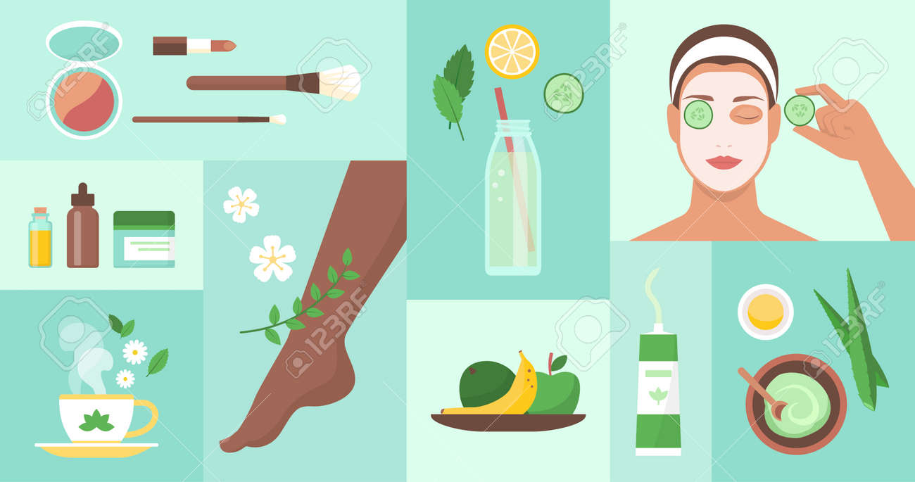 Natural body care and beauty products icons set - 172224705