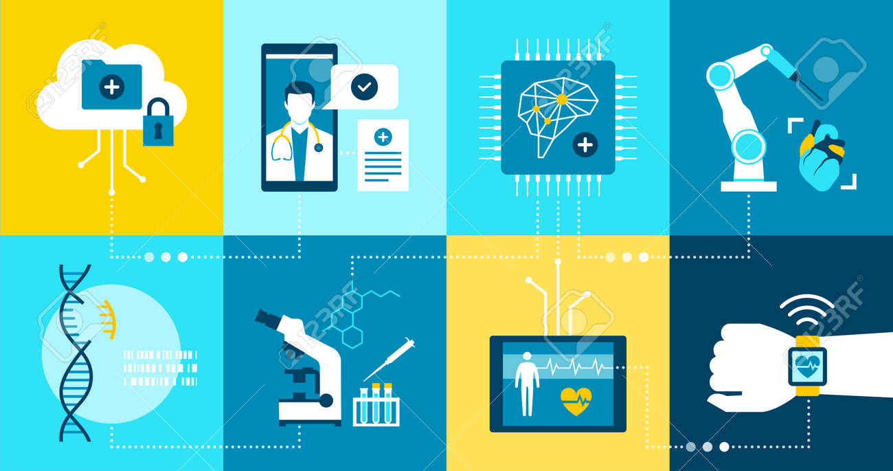 Healthcare and medicine innovation and research icons set - 172224710