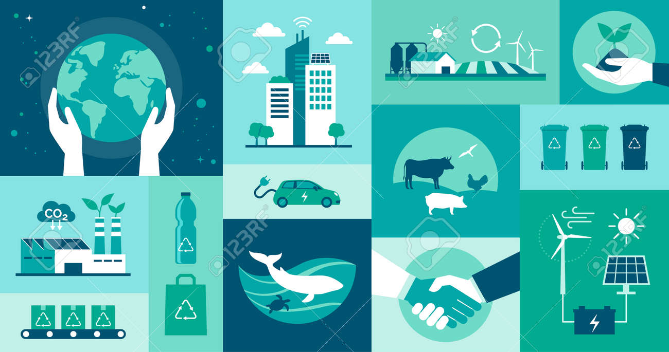 Ecology icons set: environmental protection, smart cities, sustainable industry and agriculture, animal welfare and renewable energy concept - 172490984