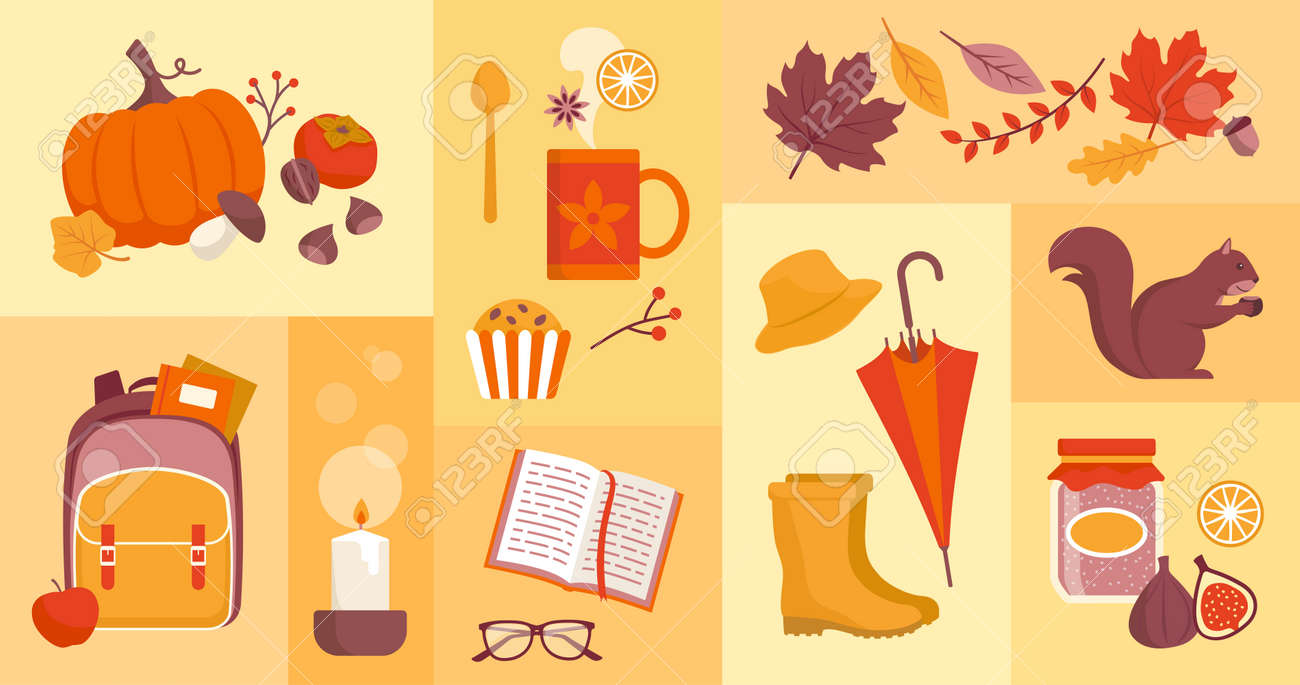 Fall season icons set: food, back to school, nature and objects - 172716361