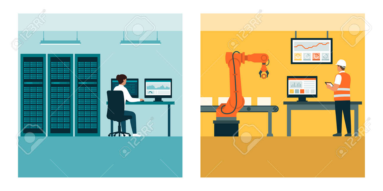 Information technology and operational technology: IT architect and control engineer at work - 173682566
