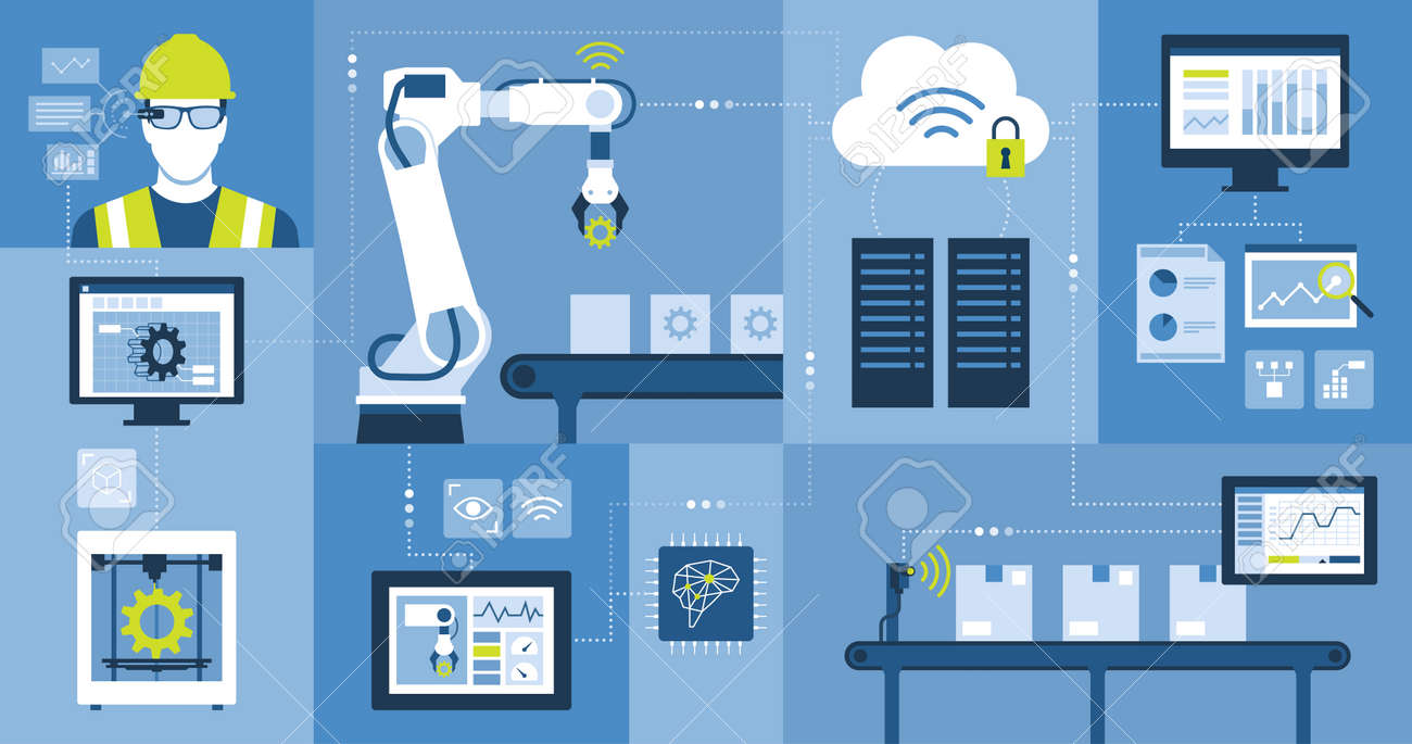 Industry 4.0: automation, industrial IOT, innovative production process and technology - 173682571