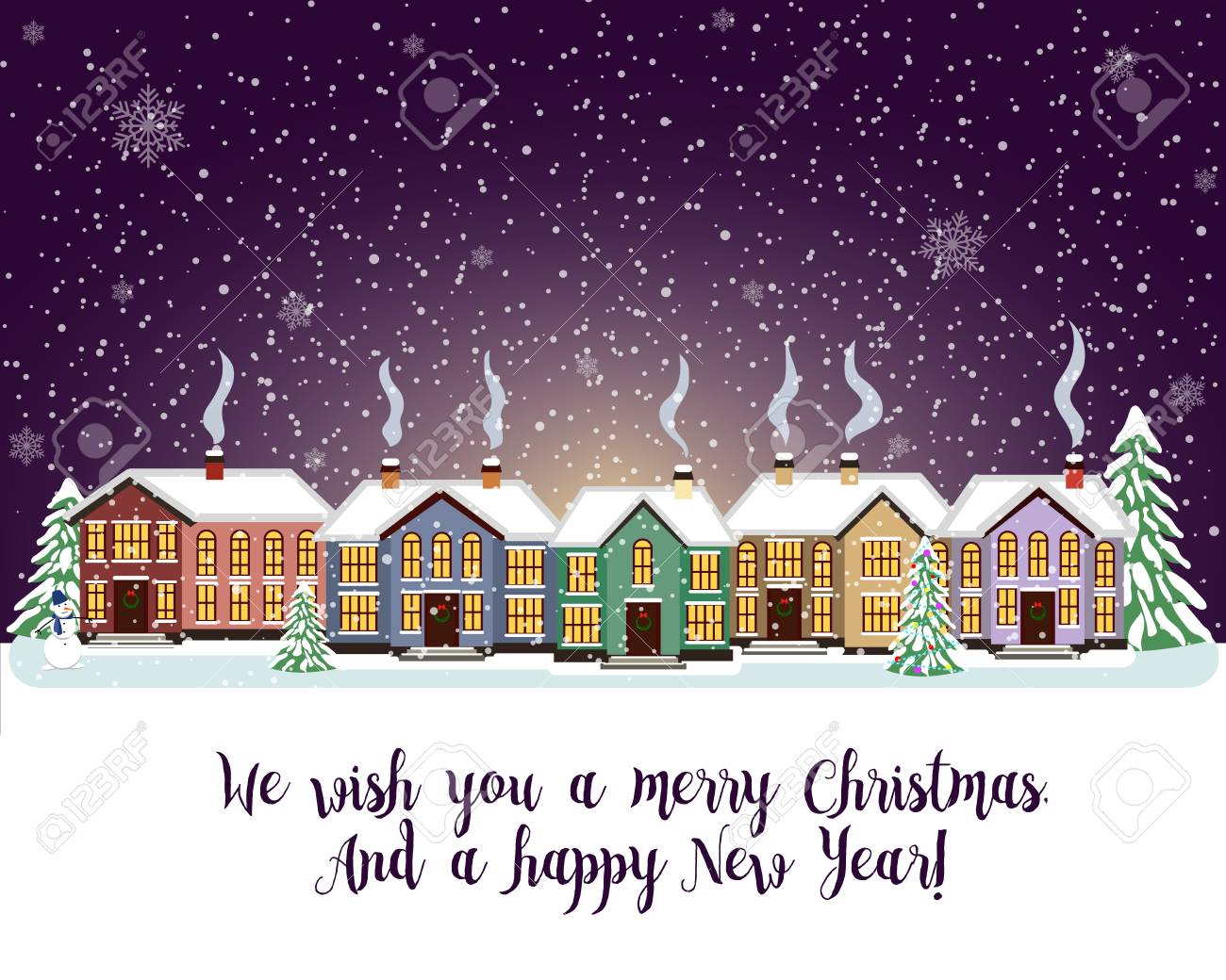 merry christmas card with house vector illustration happy new year stock vector 67694669