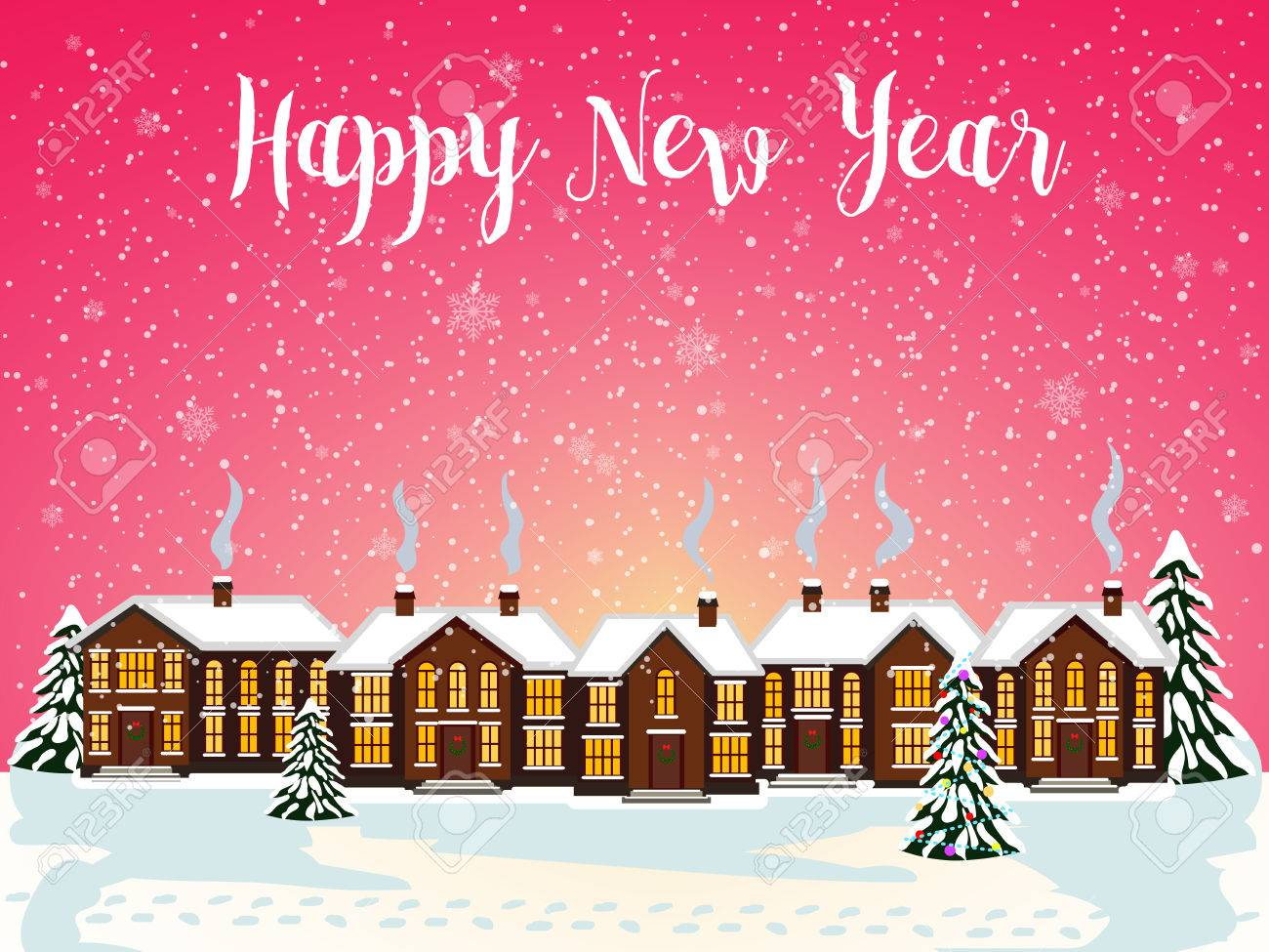 Merry christmas card with house vector illustration happy new merry christmas card with house vector illustration happy new year stock vector 67694681 kristyandbryce Gallery