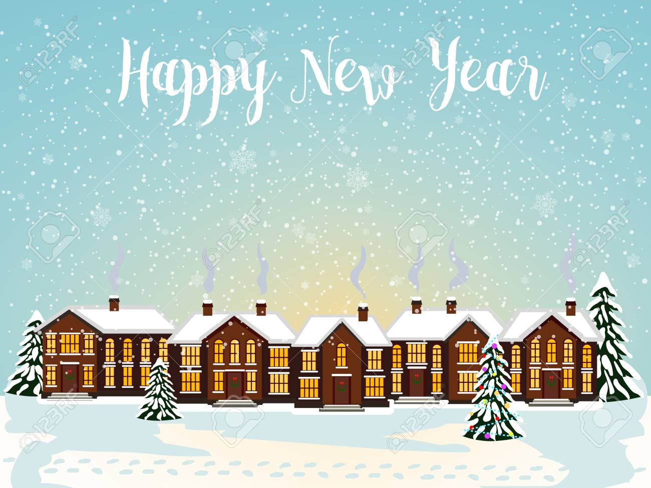 merry christmas card with house vector illustration happy new year stock vector 67694685