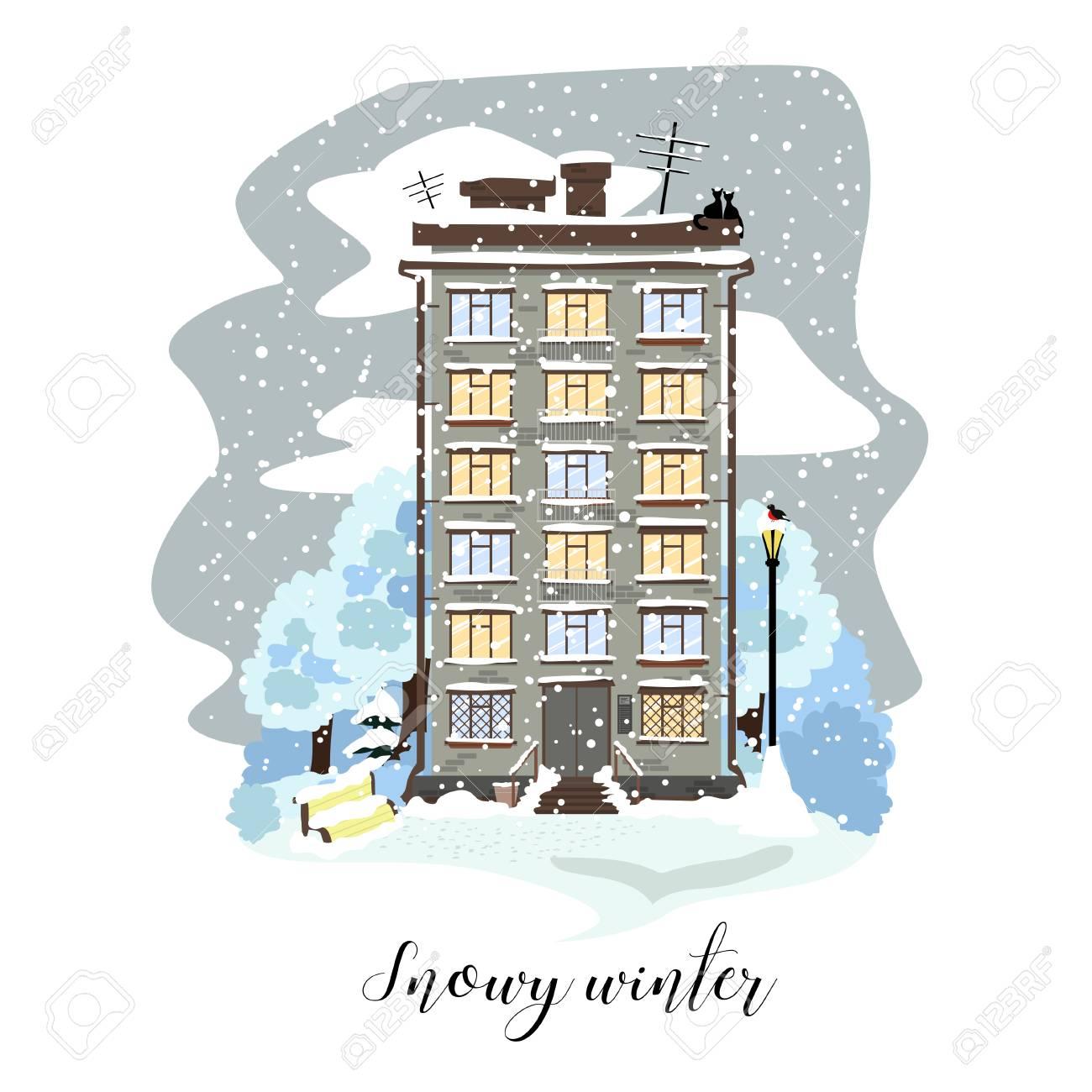 Admirable Town House In The Vector Illustration Snowy Winter In White Interior Design Ideas Skatsoteloinfo