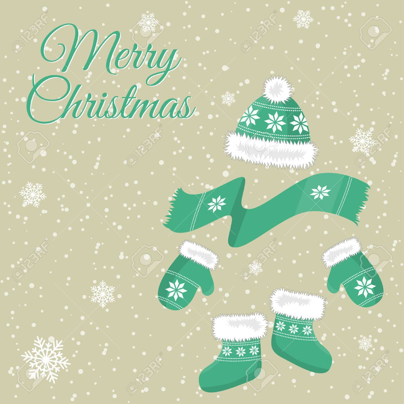 Mitten christmas decorations - Christmas Card With Christmas Decorations Hats Mittens Socks And A Scarf Stock