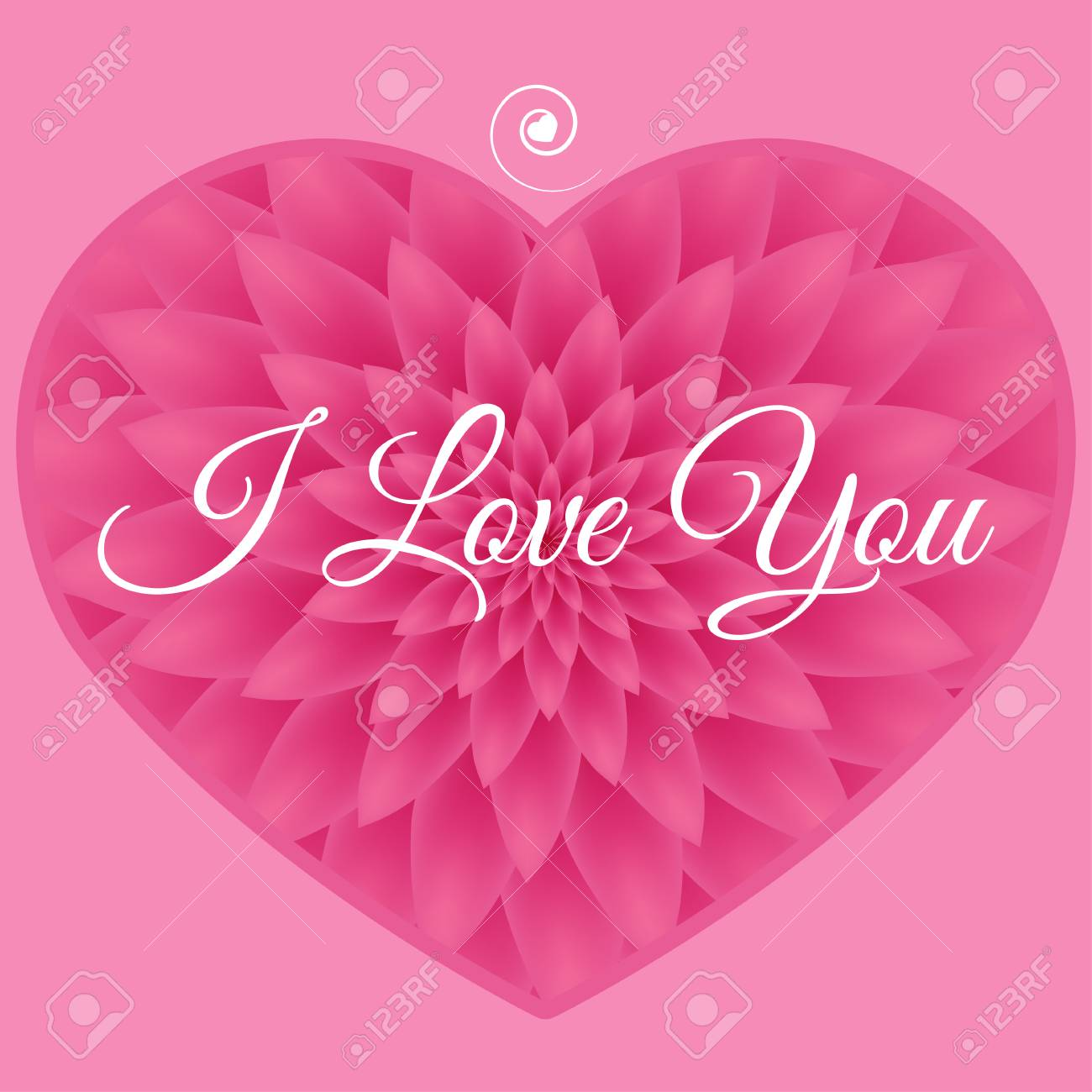 I Love You Card Greeting Card With Pink Chrysanthemum In The