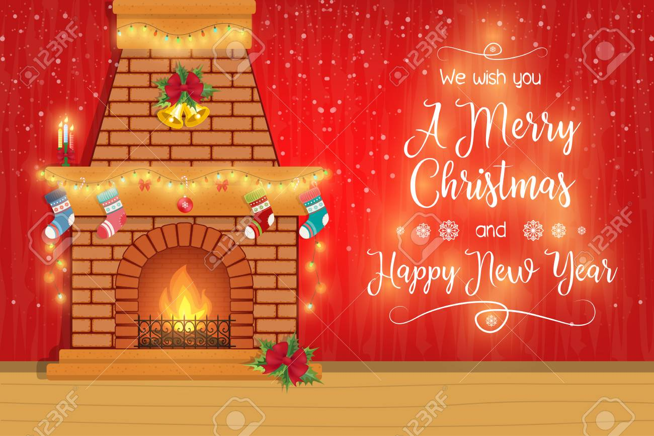 merry christmas and happy new year banner stock vector 91725287