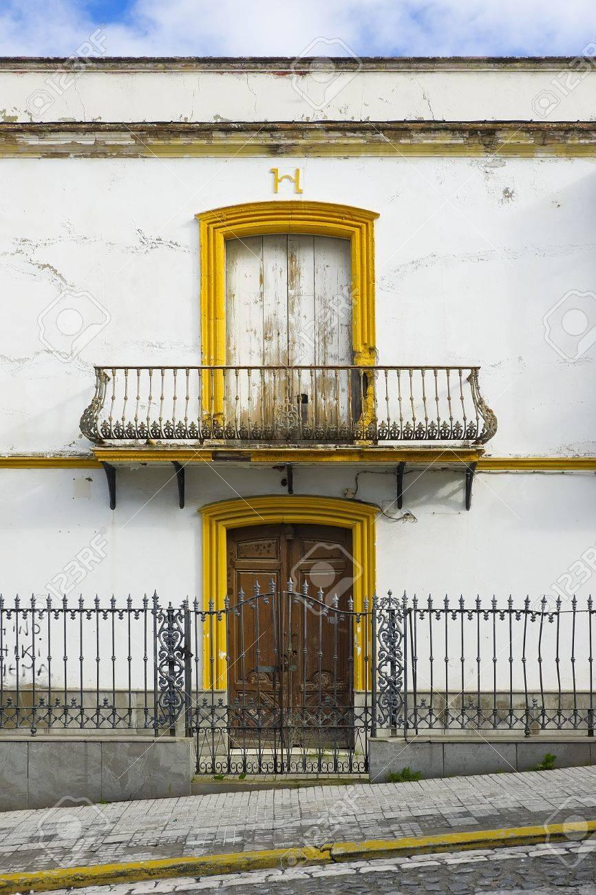 Colorful house  Colorful windows and facade in Sevilla, Spain  Ancient facade Stock Photo - 19019797