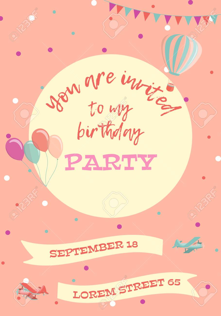Birthday Party Invitation Card Vector Illustration