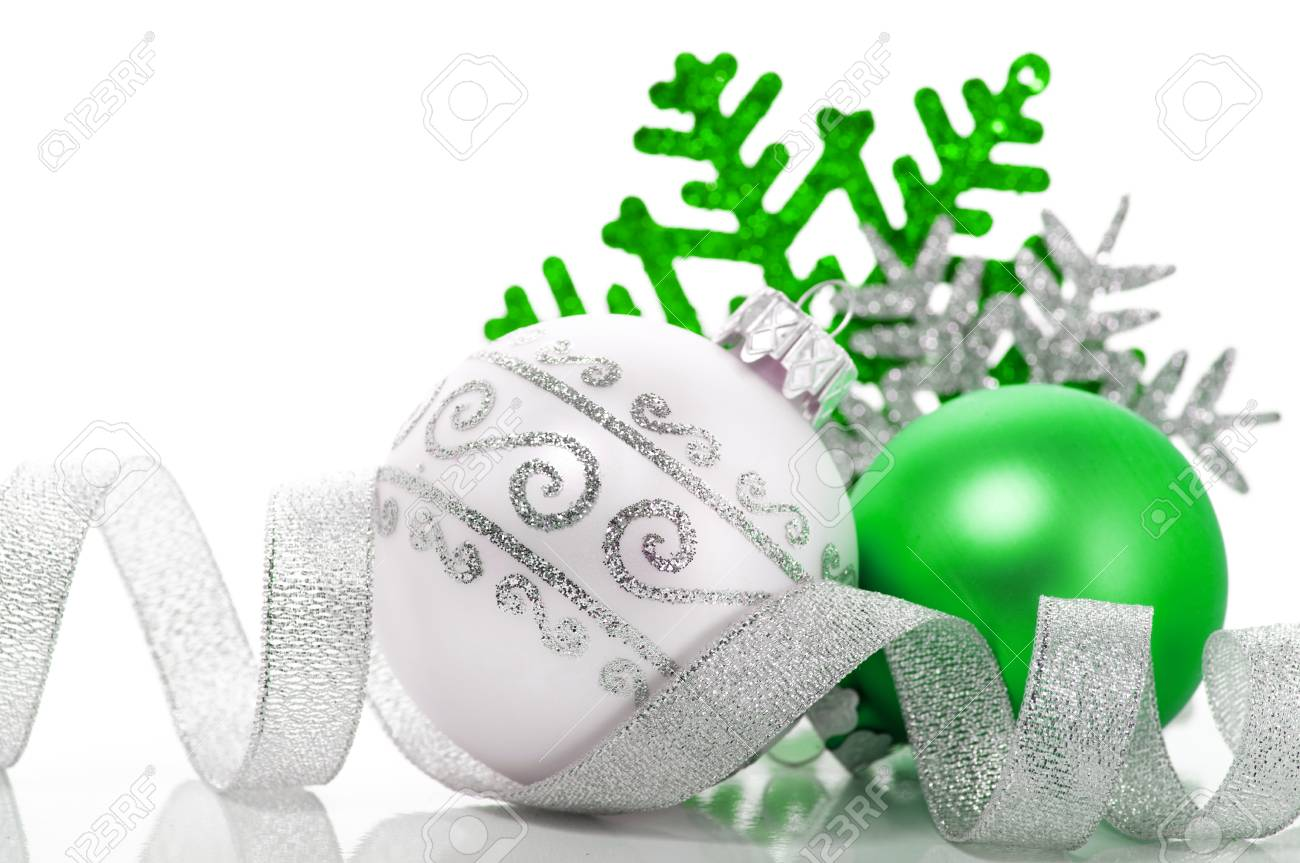 Green and silver xmas decoration - 22990639