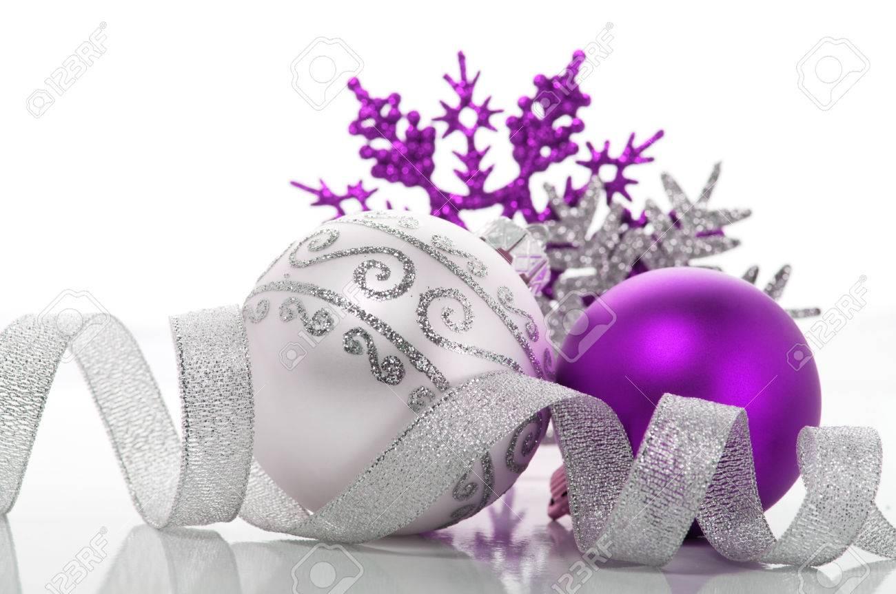 Purple and silver xmas decoration - 22927039