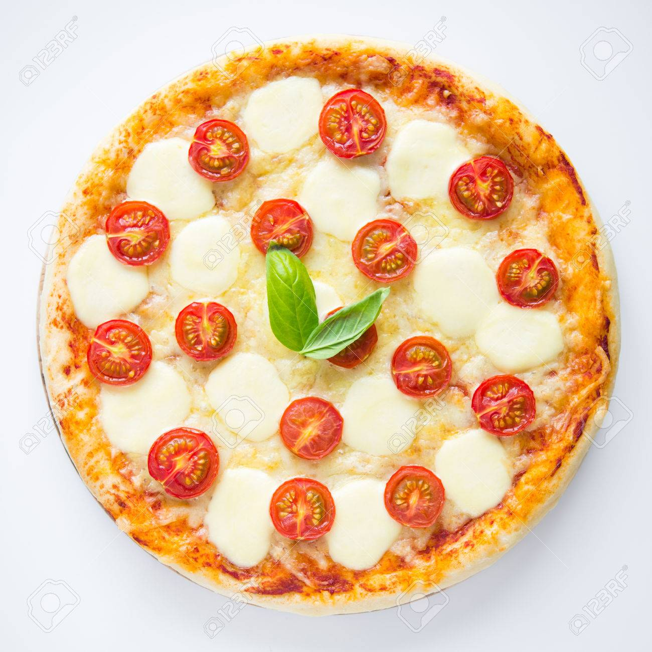 Pizza Margherita On White Background Top View Stock Photo