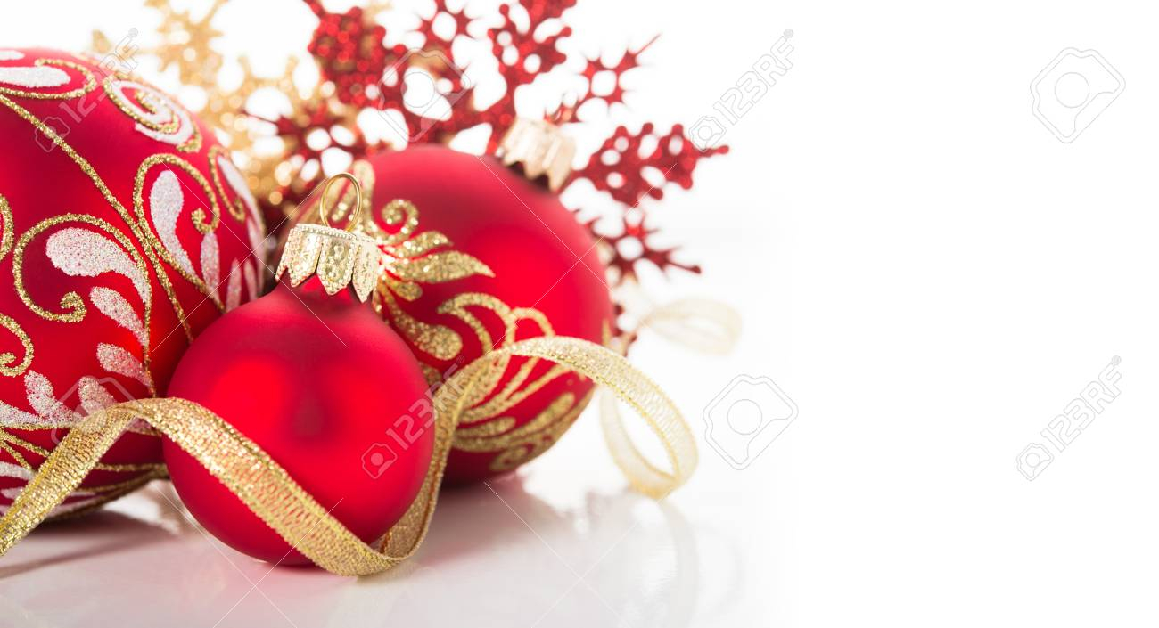 Christmas Ornaments Background.Golden And Red Christmas Ornaments On White Background Merry