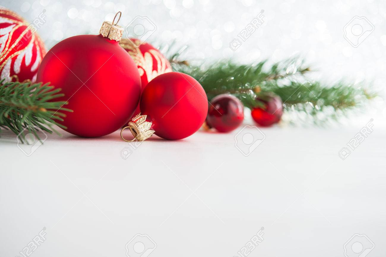 Red Xmas Ornaments On Wooden Background. Merry Christmas Card ...
