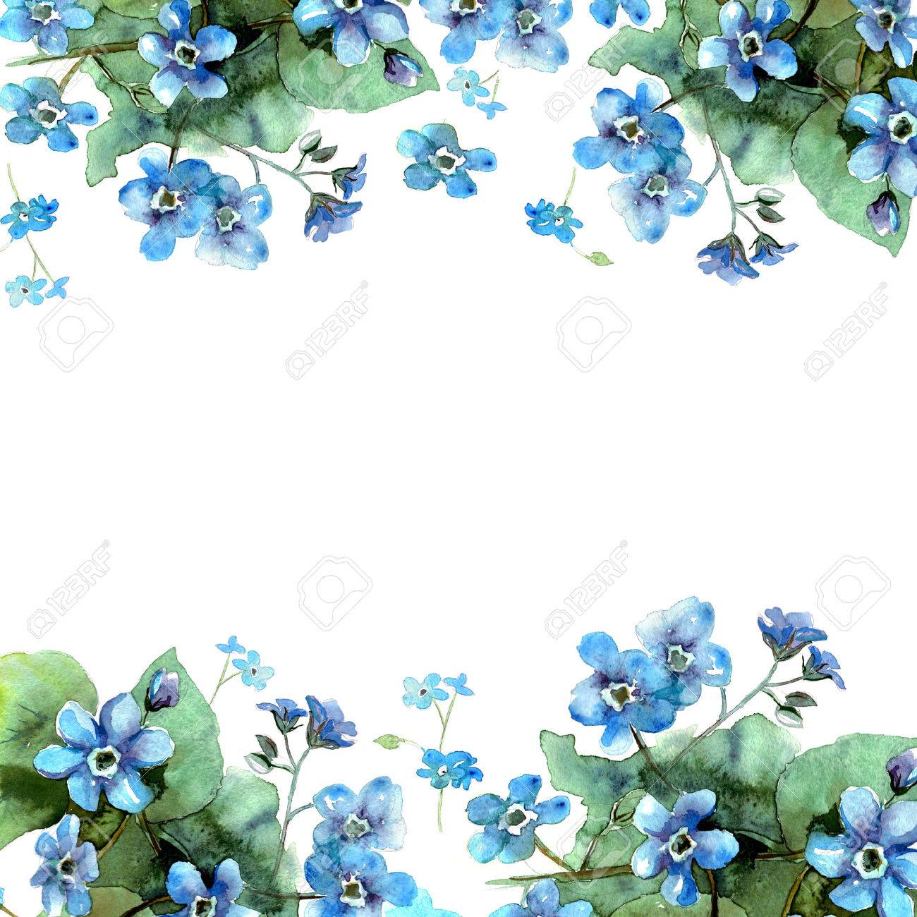 Cute Watercolor Flower Border Background With Blue Forget Me Nots Invitation Wedding