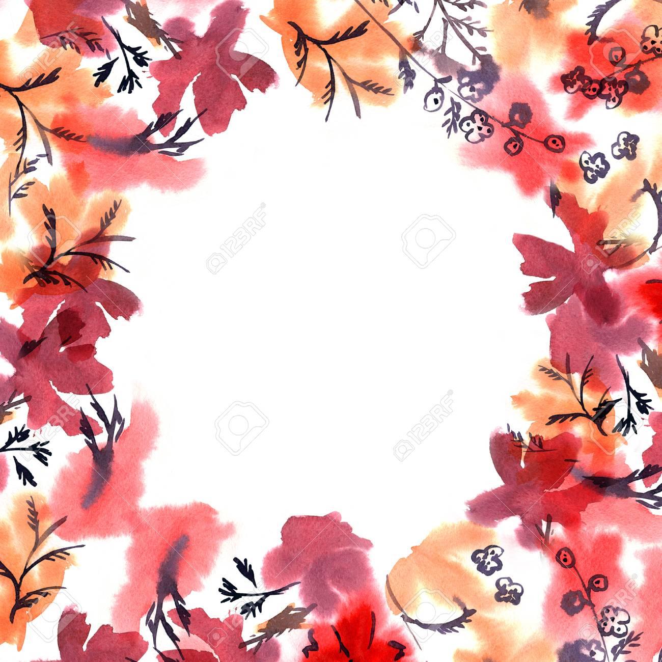 Marco De La Flor De La Acuarela Linda. Fondo Con Las Flores Rojas De ...