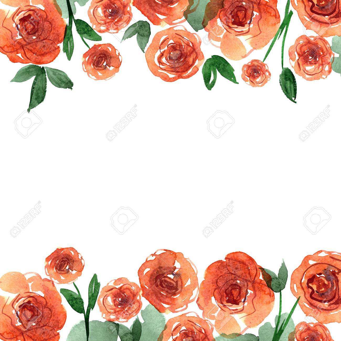 Cute Watercolor Flower Border Background With Orange Roses Invitation Wedding Card