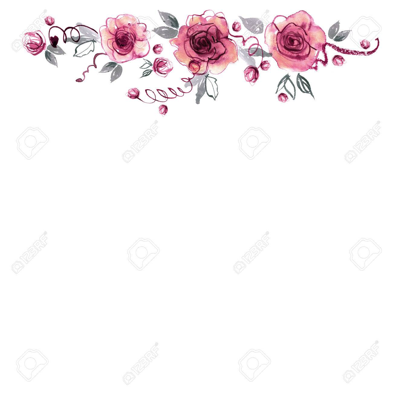 Cute Watercolor Hand Painted Flower Border Background With Pink