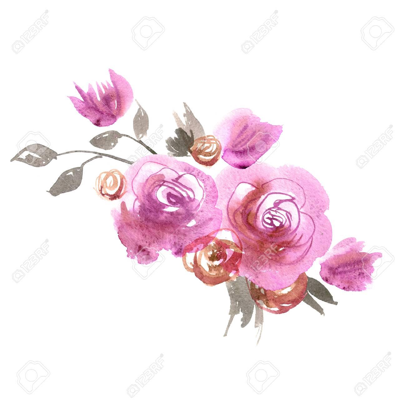 Lindas Flores De Acuarela Rosas Rosadas Elementos Para Invitacion